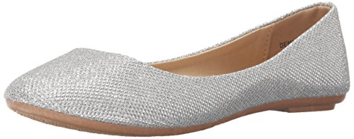 REFRESH DEMI-07 Women's Glitter Shinny Ballerina Ballet Slip On Flats,Demi-07 Silver 8