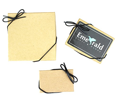Metallic Stretch Loops, Elastic Cord Ribbon, Gift Box Bows, Pack of 50 (8 Inch, Black)