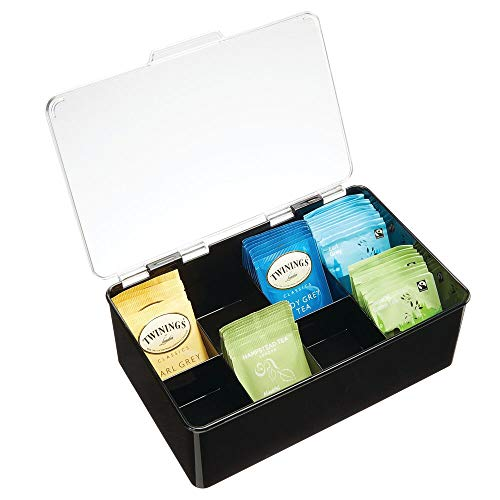 mDesign Stackable Plastic Tea Bag Holder Storage Bin Box for Kitchen Cabinets, Countertops, Pantry - Organizer Holds Beverage Bags, Cups, Pods, Packets, Condiment Accessories - Black/Clear