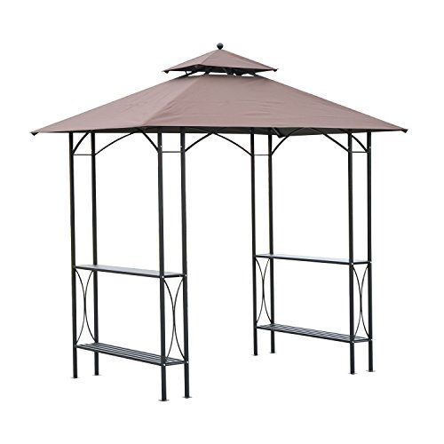 Outsunny 8' 2-Tier Outdoor BBQ Grill Gazebo w/Bar Shelves - Coffee