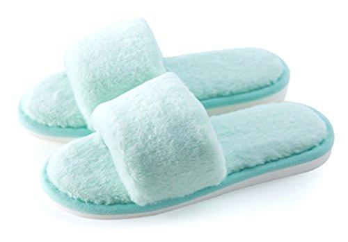Las parejas/familias sandalias calzado Happy Lily antideslizante puntera abierta sandalia Cozy felpa casa zapatillas zapatos de interior o al aire libre Verde