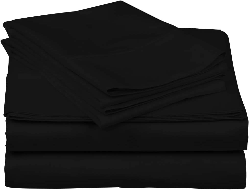 True Luxury 1000-Thread-Count 100% Egyptian Cotton Bed Sheets, 4-Pc Queen Black Sheet Set, Single Ply Long-Staple Yarns, Sateen Weave, Fits Mattress Upto 18'' Deep Pocket