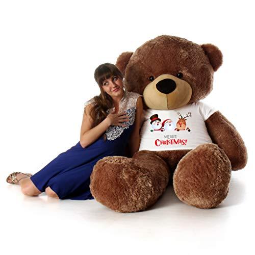 754e59ab191 Giant Teddy Brand 6 Foot Life Size Mocha Brown Color Big Plush Teddy Bear  Sunny Cuddles (with Merry Christmas T-Shirt)