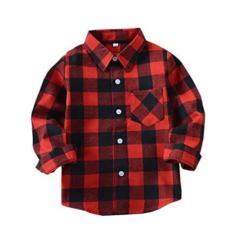 Sleeve Flannel Long Kids (Tortor 1Bacha Little Boys' Long Sleeve Button Down Plaid Flannel Shirt (Red Black, 12 Months))