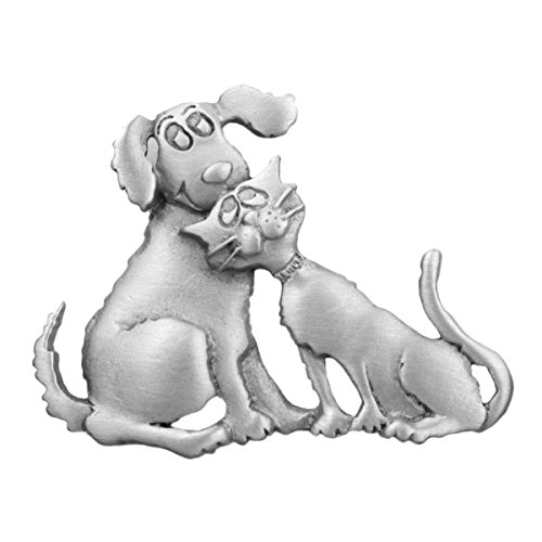 Dog and Cat Sitting Together - Pewter Cat Pin