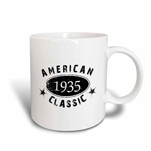 (3dRose 1935 American Classic Personalized Birth Year Birthday Gift Black Grunge Vintage Look Funny Ceramic Mug, 11 oz, White)