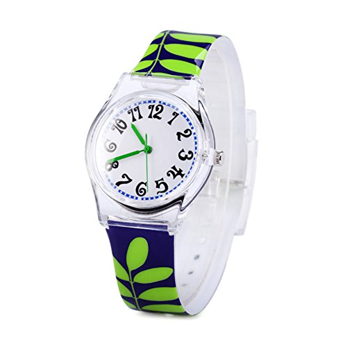 - Jian Ya Na Fashion Women Analog Quartz Watch Eco-friendly Silicone Watch Round Dial Rubber Strap (Green leaf)