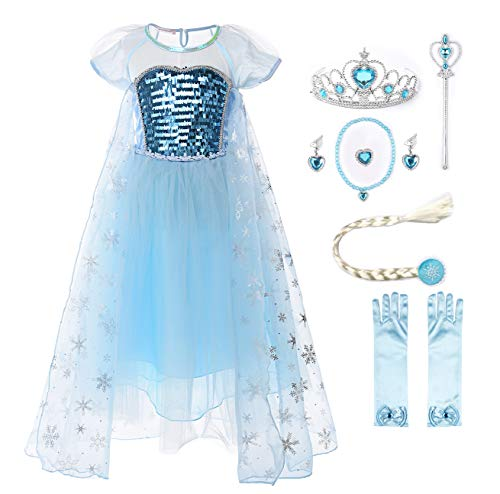 JerrisApparel Girl Princess Elsa Costume Sequin Mesh Party Dress with Sleeve (5, Short Sleeve with Accessories)]()