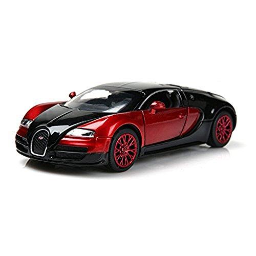 Kangkang@ Bugatti Veyron Alloy Car Model Children's Toy Car Boys Car Toy Bugatti Veyron Brand Car Model 1:32 Black&red (Bugatti Veyron Model compare prices)