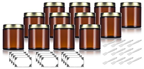Amber Thick Glass Straight Sided Jar with Gold Metal Airtight Lid - 4 oz / 120 ml (12 pack) + Spatulas and Labels