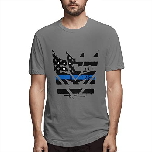 - Nutmix Men's Idaho Tattered Flag Blue Line Map Fashion T-Shirts