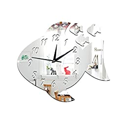 ZQ Modern European and American 3D clock decorated children\'s room interesting decorative clock large fish mirror clock green Stereo Mute room decoration ideas wall clock , Silver