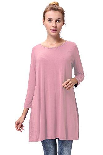 Woman Plus Size 3/4 Sleeve Tunic Length T Shirts Loose Fit Swing Basic Tunic Shirt