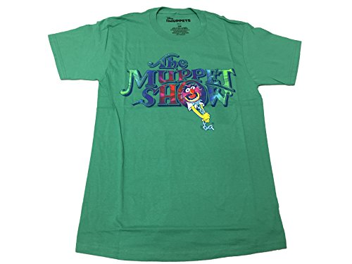 Muppets Men's Disney The Muppet Show Animal Drummer Colorful Logo T Shirt 2X-Large Green
