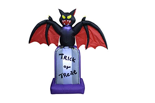 BZB Goods 5 Foot Tall Halloween Inflatable Black Bat on Tombstone LED Lights Decor Outdoor Indoor Holiday Decorations, Blow up Lighted Yard Decor, Giant Lawn Inflatables Home Family -