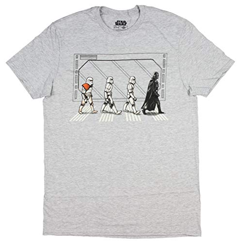 Star Wars Death Star Road Stormtrooper Crossing Mens T-Shirt (Grey Heather, Large)