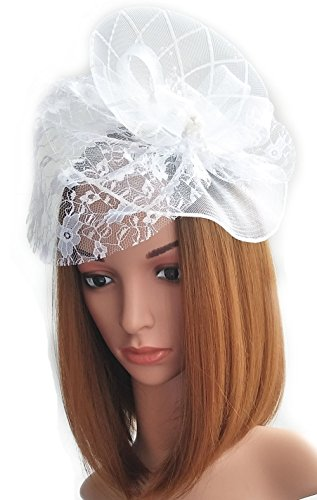 Womens Fascinator Hat Hair Clip Beads Veil for Cocktail Headwear Party Headpieces (Party Headpiece)