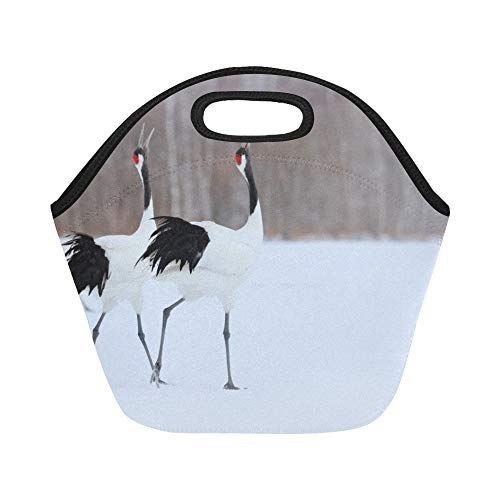 - Insulated Neoprene Lunch Bag Dancing Pair Redcrowned Cranes With Blizzard Large Size Reusable Thermal Thick Lunch Tote Bags For Lunch Boxes For Outdoors,work, Office, School