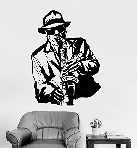 57x78cm,Wall Stickers for Living Room Sayings,Wall Tattoo Art, Applique Jazz Musician Music -