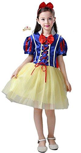 Cohaco Girl's Princess Snow White Style Costume Party Dress with Tiara Clip (US (Snow White Tutu Girls Costumes)