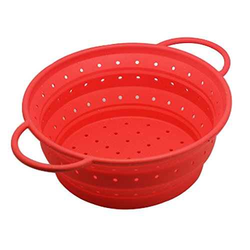 OILP Large Silicone Collapsible Colander Kitchen Strainer Fruit Basket for Outdoor Travel Camping Hiking,10.04'(7 Quart),Easy to Carry and Store (Large, Red)