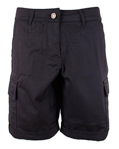Combat Cargo Shorts - Noroze Womens Cotton Combat Canvas Chino Cargo Shorts Black 14 (UK 18)