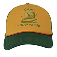 """Stranger Things Dustin Cosplay Baseball Hat Adult Kids""""Camp Know Where"""" Green Yellow Cap"""