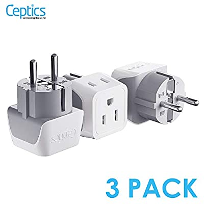 Schuko Germany, France Plug Adapter by Ceptics, Dual Input - Ultra Compact Light Weight - Usa to Russia, South Korea Travel Adaptor Plug - Type E/F (3 Pack): Electronics