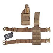 OneTigris Tactical Molle Right-hander Drop Leg Platform with Removable Pistol Holster for Hunting/Paintball/Airsoft (A Set)
