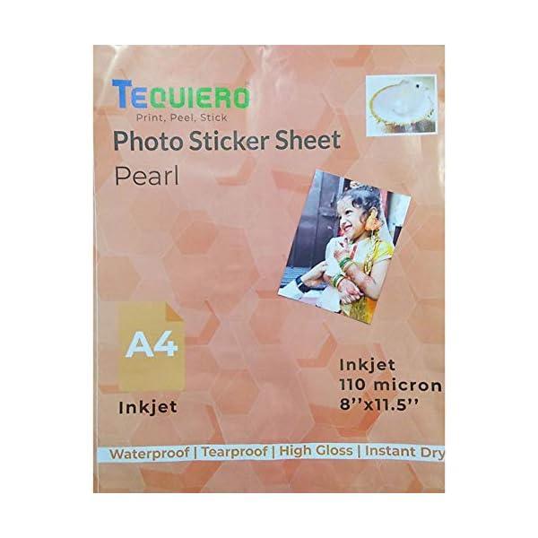 TeQuiero Photo Sticker Sheet Glossy Waterproof Pearl Self Adhesive A4 Size Vinyl Photo Paper (Inkjet) - 25 Sheets