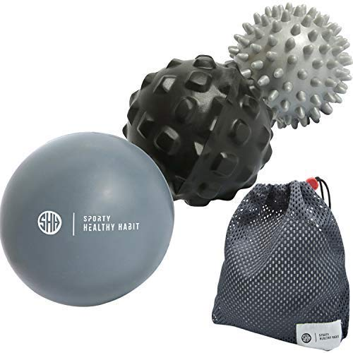 Sporty Healthy Habit Massage Balls Deep Tissue: Lacrosse Ball Massage+ Spiky Ball+ Foam Ball Roller -Trigger Point Therapy, Myofascial Release, and Muscle Recovery. (Black, Gray, Dark Gray, Large)