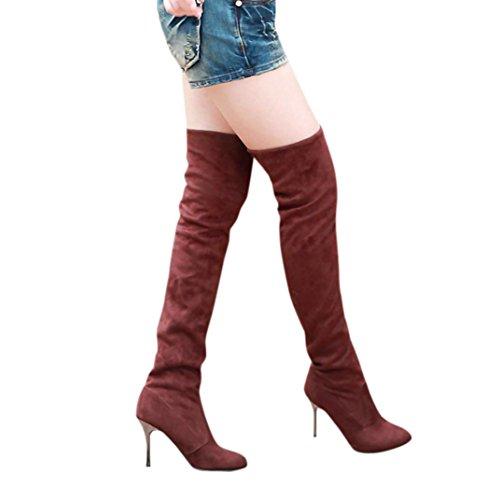 Frauen dünn hoch mit dem Knie Stiefel Punkt Zehe mit hohen Absätzen Stiefel Herbst Winter Schuhe Braun