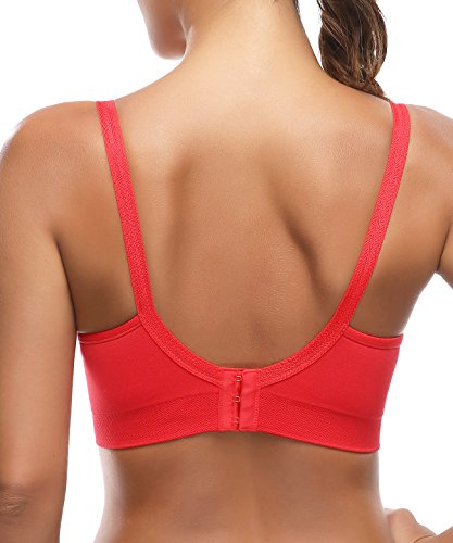d0b045ad7cf64 WingsLove Womens Seamless Comfort Support Maternity Wirefree Padded Nursing  Bra(Red,L) -