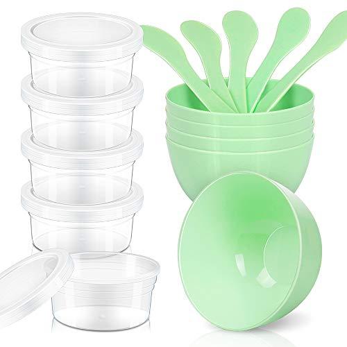 LEOBRO DIY Slime Making Tools, 5pcs Glue Mixing Bowls, 5pcs Glue Mixing Spoons, 5pcs 4.5 oz Slime Containers for Kids Slime Making - 130 Ml Part