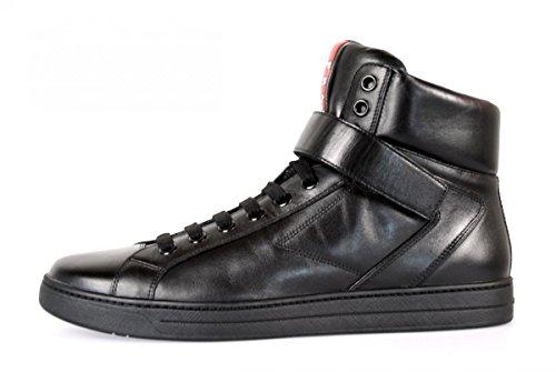 Noir En Baskets Sneakers Hautes Chaussures Prada Homme Cuir w6gq0AW