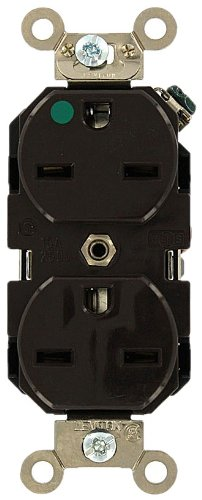 Leviton 8600 15-Amp, 250 Volt, Wide Body Duplex Receptacle, Straight Blade, Hospital Grade, Self Grounding, (Brown Hospital Grade Receptacle)
