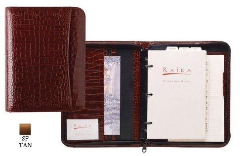 Raika SF 204 TAN Three Ring Zipper Agenda - Tan