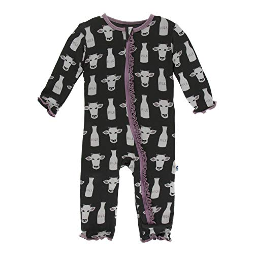 (Kickee Pants Little Girls Print Muffin Ruffle Coverall with Zipper - Zebra Tuscan Cow, 2T)