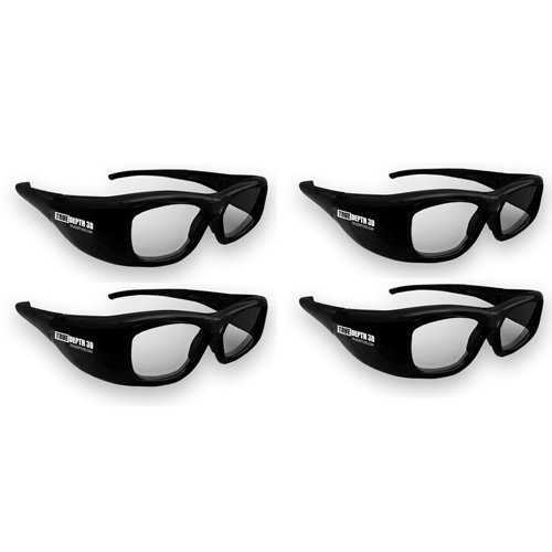 True Depth 3D Glasses for Sharp 3D TVs 4 Pairs (Supports Infrared and Bluetooth- Compatible with 2010, 2011, 2012, 2013 and Current Bluetooth Sharp 3D TVs) by True Depth 3D (Image #1)