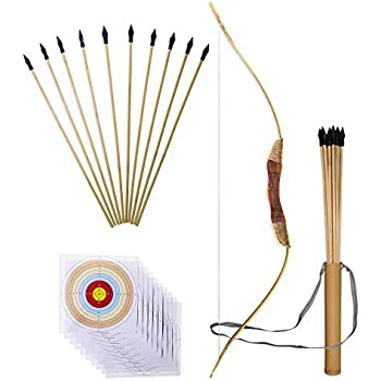 amazon com bow and arrow with quiver set bow for practice wooden