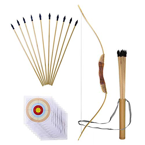 "UteCiA Complete Archery Set For Kids & Beginners – 34"" Handcrafted Wooden Bow, 10 - Pc 18"" Safety Rubber Tip Arrow Pack, Quiver, 10 Target Sheets – Outdoor and Indoor Shooting Toy For Aspiring Archers"