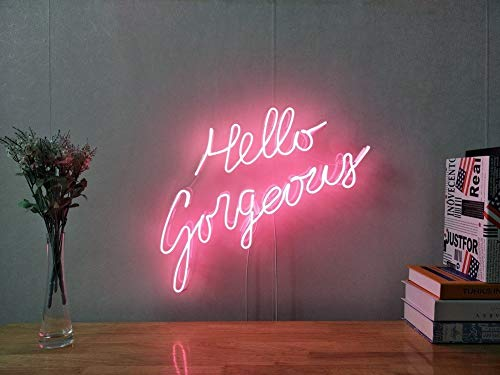 - Hello Gorgeous Real Glass Neon Sign For Bedroom Garage Bar Man Cave Room Home Decor Handmade Artwork Visual Art Dimmable Wall Lighting Includes Dimmer