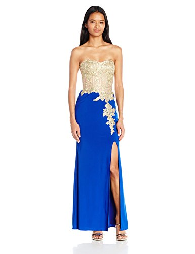 Blondie Nites Junior's Long Ity Strapless Dress, Royal/Gold, 5