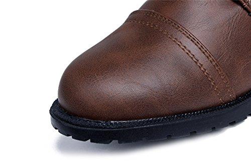 Shoes Cordones Caña con Tacón Marrón Mujer Bajo Suede Nudo Botas Baja AgeeMi 64wdtd