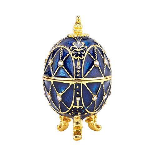 PAIQ Unique Gift Royal Blue Faberge Egg Decoration Box Handmade Trinket Box Home Decor