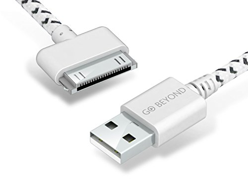 Go Beyond (TM) 3 Feet 30 Pin Fabric Braided Nylon Premium Durable USB Charging/Data Sync Cable for Apple iPod, iPhone, and iPad (SHIPPED IN SAME BUSINESS DAY.)(3FT White Nylon Cable)