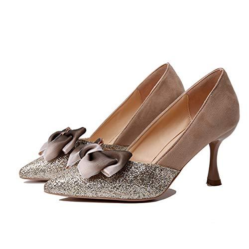 Sur Aiguilles Femmes Singles Pointu Talons Or Chaussures Été Court Classiques Fines Orteil Des Printemps Hauts Slip Escarpins BR6q6nZ