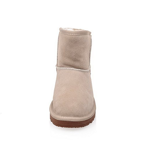 Women's Frosted apricot Snow Round top Closed Toe Low Solid AmoonyFashion Heels Low Boots dqYfHxd7