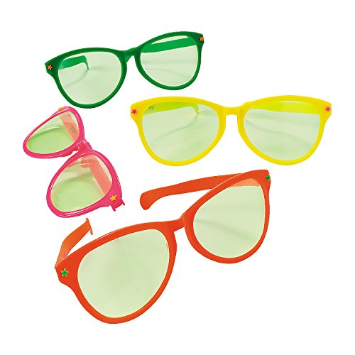 Jumbo Giant Sunglasses (1 dozen oversize glasses) Assorted Colors - Photo Booth Gag -
