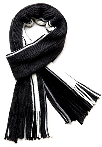 Black Burberry Scarf - TitFus Men's 100% Fine Acrylic Knitted Long Winter Scarf Colorful Striped (Charcoal)